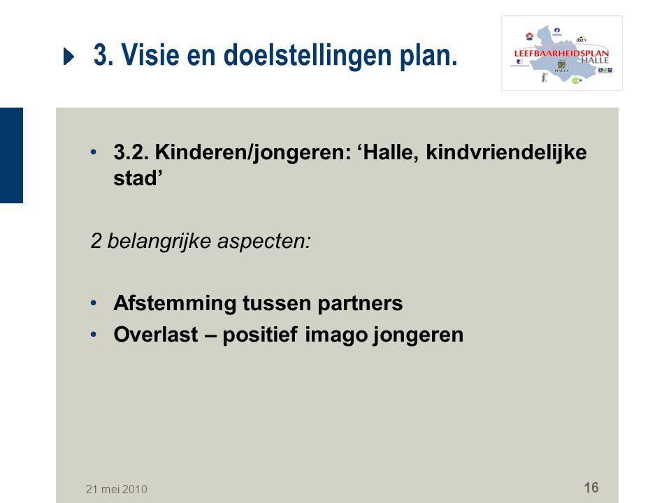 21 mei 2010 16 3. Visie en doelstellingen plan. 3.2. Kinderen/jongeren: 'Halle, kindvriendelijke stad' 2 belangrijke aspecten: Afstemming tussen partn