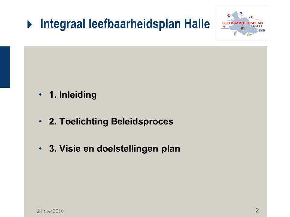 21 mei 2010 2 Integraal leefbaarheidsplan Halle 1. Inleiding 2. Toelichting Beleidsproces 3. Visie en doelstellingen plan