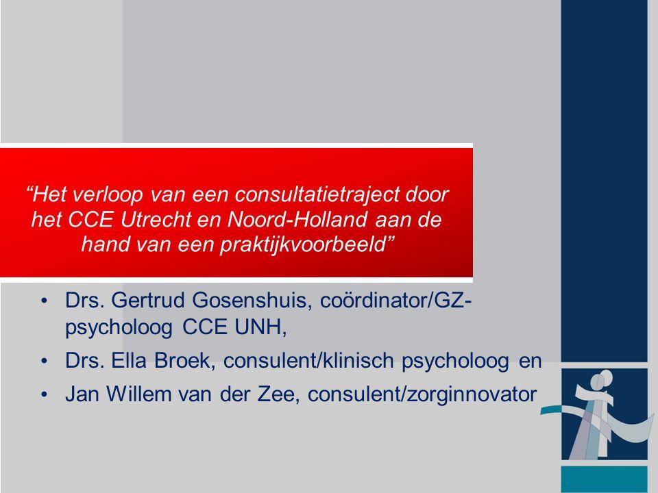 1989: Ontstaan Consulententeams; indeling naar werkgebied IGZ 2003: Naam veranderd in Centrum voor Consultatie en Expertise 2006: Uitbreiding werkgebied naar V&V en GGZ Landelijke ontwikkelingen sinds 1989