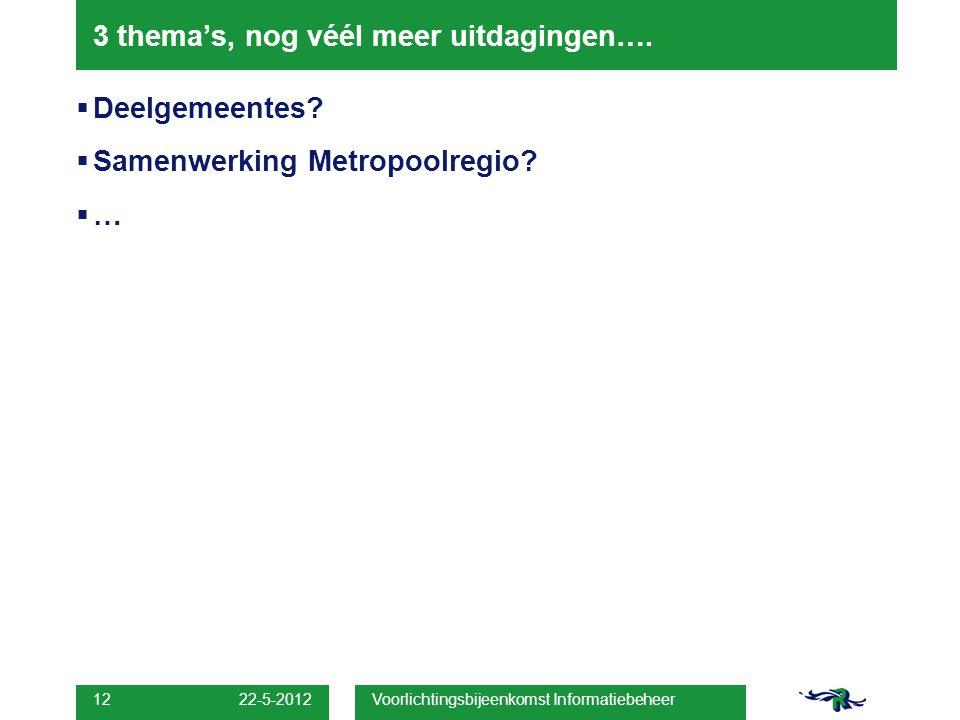 22-5-2012 Voorlichtingsbijeenkomst Informatiebeheer 12 3 thema's, nog véél meer uitdagingen….