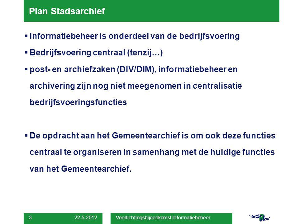 22-5-2012 Voorlichtingsbijeenkomst Informatiebeheer 14 Informatiebeheer centraal Vragen?