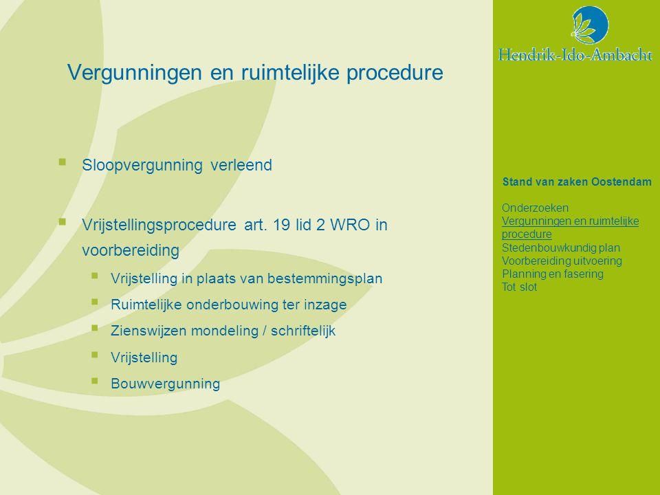 Vergunningen en ruimtelijke procedure  Sloopvergunning verleend  Vrijstellingsprocedure art.