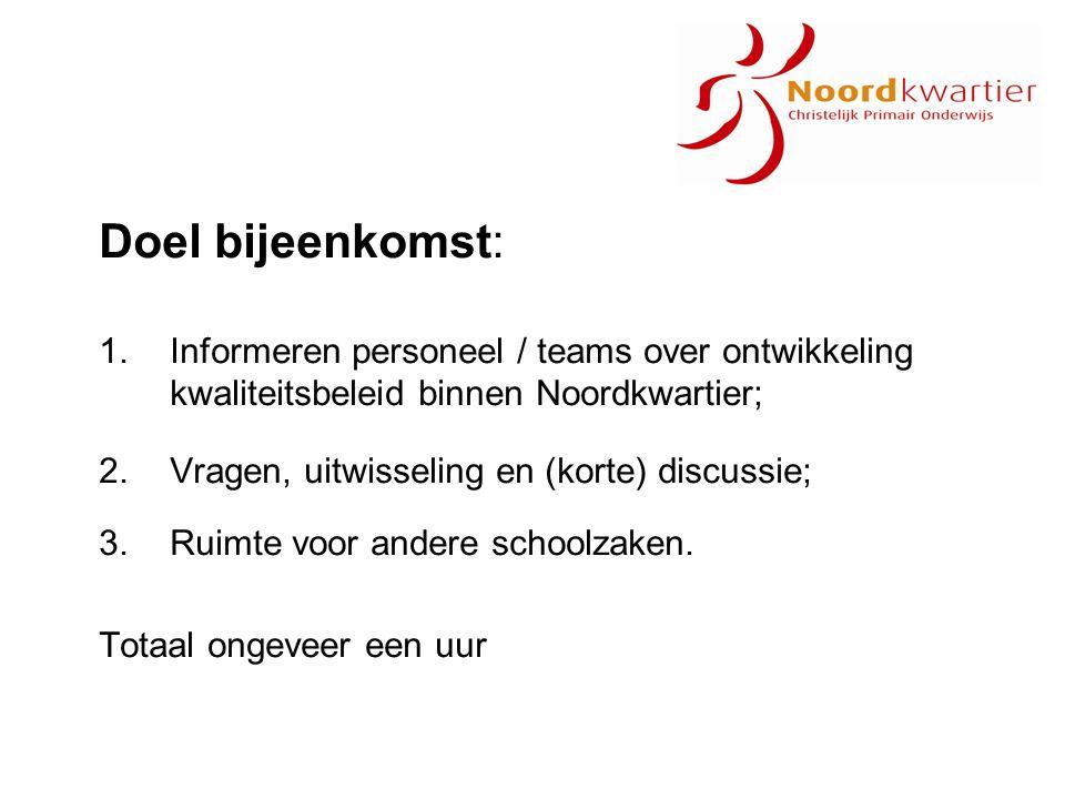 Doel bijeenkomst: 1.Informeren personeel / teams over ontwikkeling kwaliteitsbeleid binnen Noordkwartier; 2.Vragen, uitwisseling en (korte) discussie;