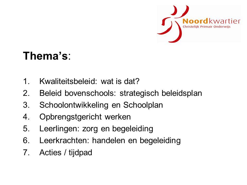 Acties / tijdpad 2009-2010: Strategisch beleid: Vaststellen kernthema's strategisch beleidsplan 2011-2015 Zelfevaluatie prestatie-indicatoren Concept beleidsplan Taal- en rekenaanbod: Inventarisatie behoefte begeleiding / ondersteuning op scholen Concept voorstel plan van aanpak Leerlingenzorg: Vaststellen minimumpakket toetsen voor alle scholen Concept voorstel plan van aanpak aanschaf materialen Criteria opbrengsten (CITO) toetsen / Parnassys Personeelsbeleid: Inventarisatie opleiding reken- en taalcoördinator Beleid functiemix / informatie ib-ers Directeuren: Betrokken bij planvoorbereiding (informatie, voorlichting, bespreking)