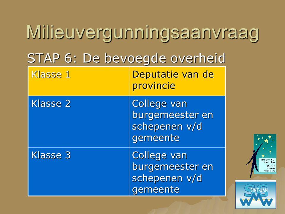 Milieuvergunningsaanvraag STAP 6: De bevoegde overheid Klasse 1 Deputatie van de provincie Klasse 2 College van burgemeester en schepenen v/d gemeente