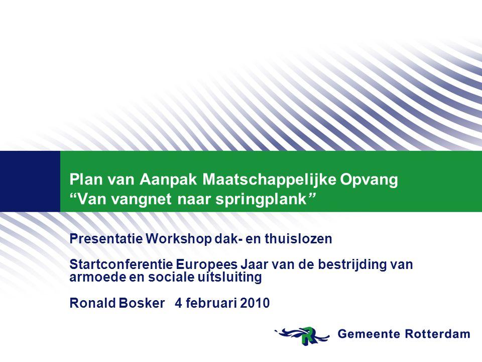 """Plan van Aanpak Maatschappelijke Opvang """"Van vangnet naar springplank"""" Presentatie Workshop dak- en thuislozen Startconferentie Europees Jaar van de b"""