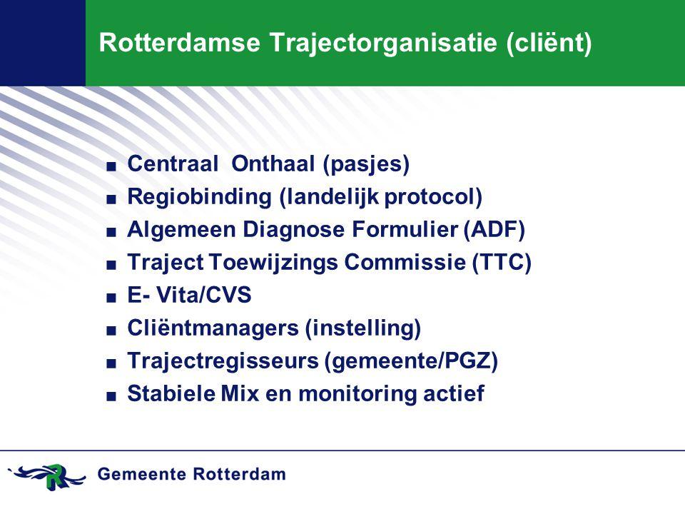 . Centraal Onthaal (pasjes). Regiobinding (landelijk protocol). Algemeen Diagnose Formulier (ADF). Traject Toewijzings Commissie (TTC). E- Vita/CVS. C