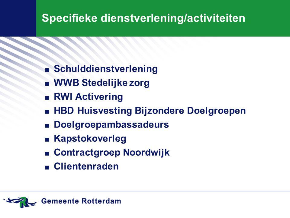 Specifieke dienstverlening/activiteiten. Schulddienstverlening. WWB Stedelijke zorg. RWI Activering. HBD Huisvesting Bijzondere Doelgroepen. Doelgroep
