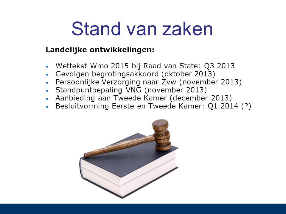 Stand van zaken Landelijke ontwikkelingen: Wettekst Wmo 2015 bij Raad van State: Q3 2013 Gevolgen begrotingsakkoord (oktober 2013) Persoonlijke Verzor