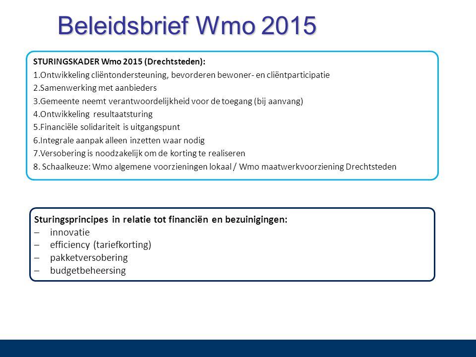 Beleidsbrief Wmo 2015 Sturingsprincipes in relatie tot financiën en bezuinigingen: –innovatie –efficiency (tariefkorting) –pakketversobering –budgetbeheersing STURINGSKADER Wmo 2015 (Drechtsteden): 1.Ontwikkeling cliëntondersteuning, bevorderen bewoner- en cliëntparticipatie 2.Samenwerking met aanbieders 3.Gemeente neemt verantwoordelijkheid voor de toegang (bij aanvang) 4.Ontwikkeling resultaatsturing 5.Financiële solidariteit is uitgangspunt 6.Integrale aanpak alleen inzetten waar nodig 7.Versobering is noodzakelijk om de korting te realiseren 8.