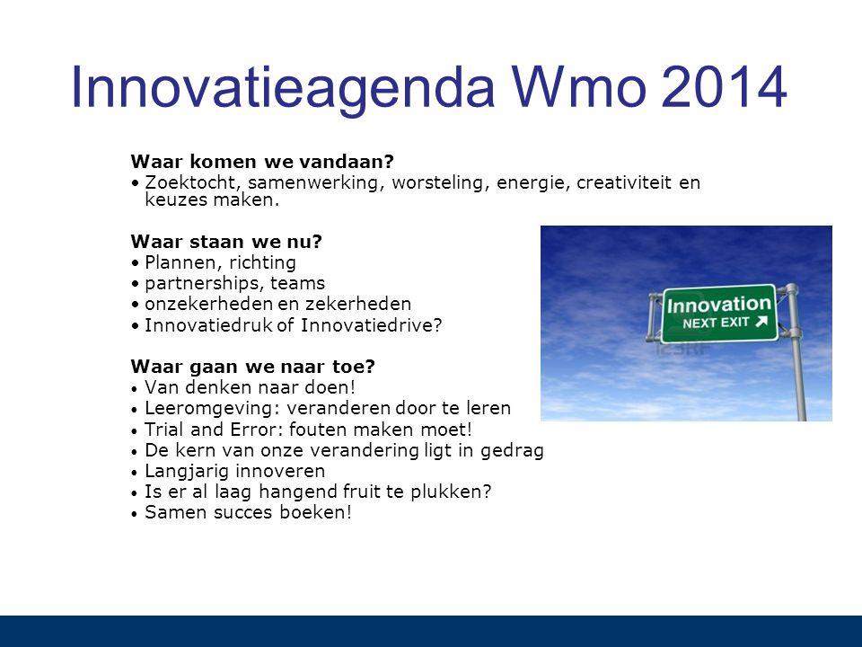 Innovatieagenda Wmo 2014 Waar komen we vandaan? Zoektocht, samenwerking, worsteling, energie, creativiteit en keuzes maken. Waar staan we nu? Plannen,