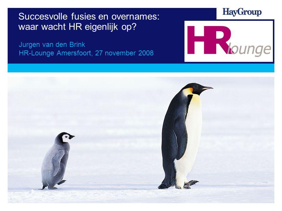 Succesvolle fusies en overnames: waar wacht HR eigenlijk op? Jurgen van den Brink HR-Lounge Amersfoort, 27 november 2008