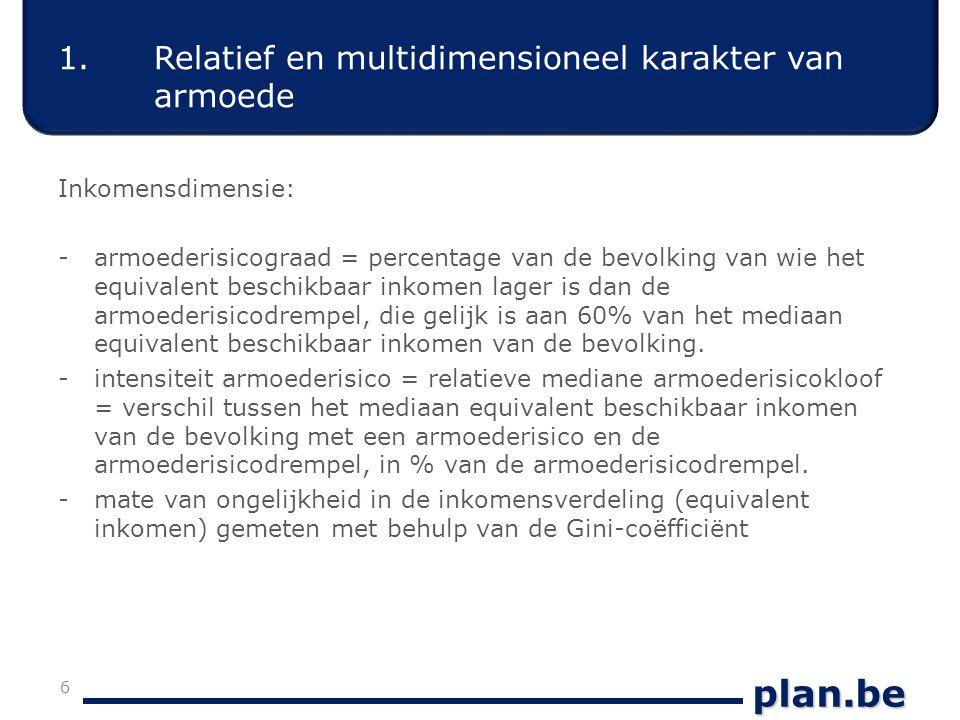 plan.be Evolutie armoederisico in België Bron: 1994-2000: ECHP 1995-2001 (European Community Household Panel); 2002- 2007: EU-SILC 2003-2008 17 3.