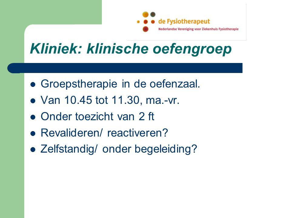 Kliniek: klinische oefengroep Groepstherapie in de oefenzaal.
