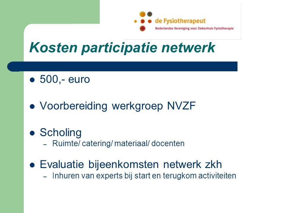 Kosten participatie netwerk 500,- euro Voorbereiding werkgroep NVZF Scholing – Ruimte/ catering/ materiaal/ docenten Evaluatie bijeenkomsten netwerk zkh – Inhuren van experts bij start en terugkom activiteiten