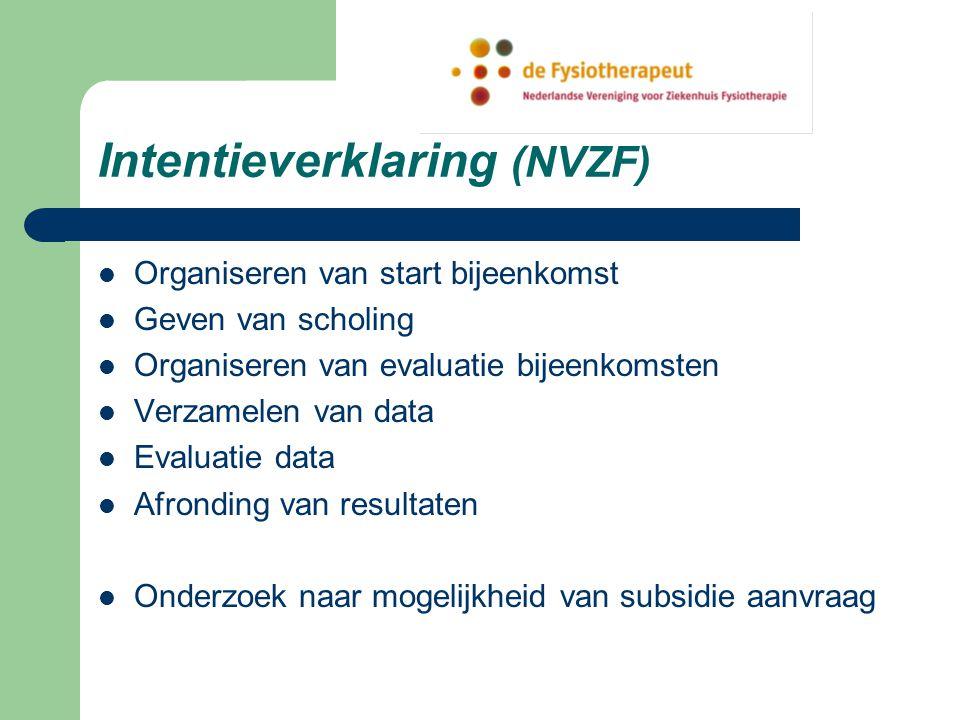 Intentieverklaring (NVZF) Organiseren van start bijeenkomst Geven van scholing Organiseren van evaluatie bijeenkomsten Verzamelen van data Evaluatie data Afronding van resultaten Onderzoek naar mogelijkheid van subsidie aanvraag