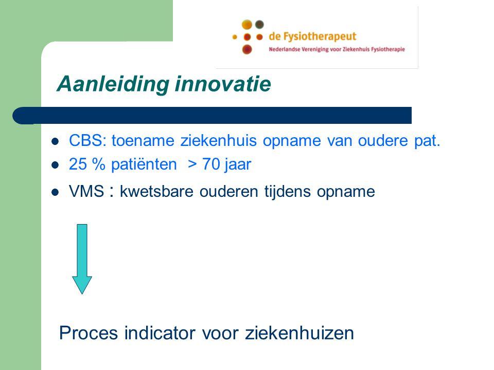 Aanleiding innovatie CBS: toename ziekenhuis opname van oudere pat.