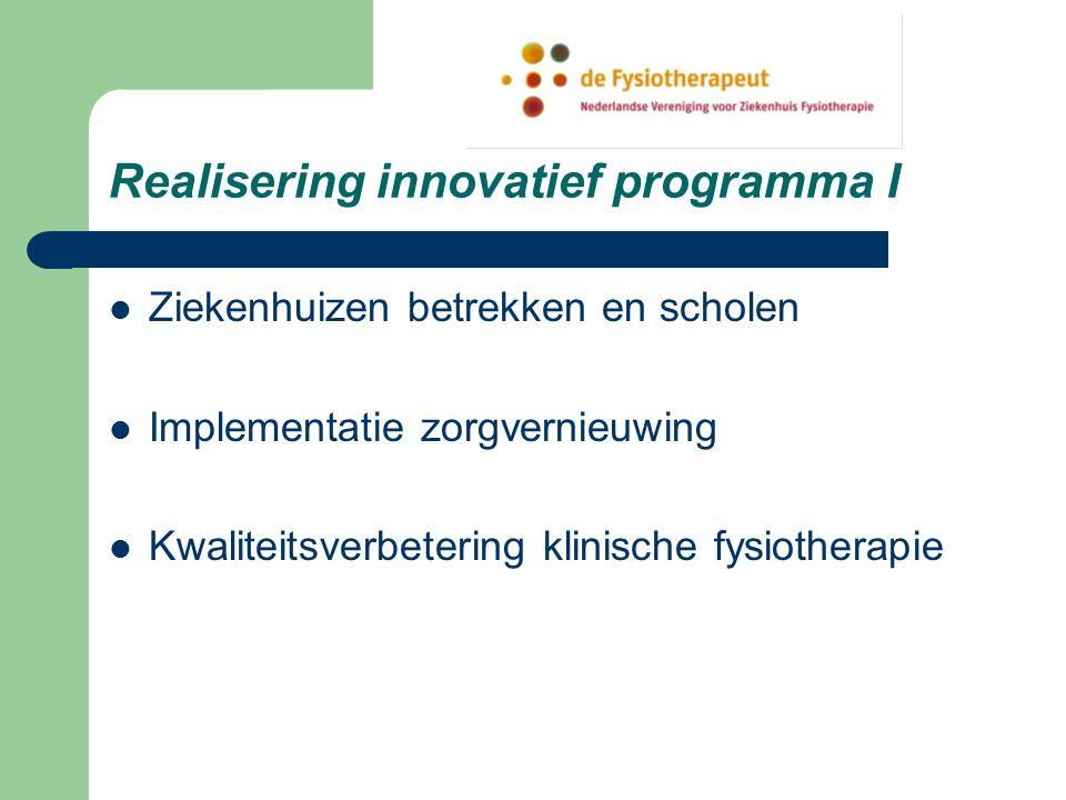 Realisering innovatief programma I Ziekenhuizen betrekken en scholen Implementatie zorgvernieuwing Kwaliteitsverbetering klinische fysiotherapie