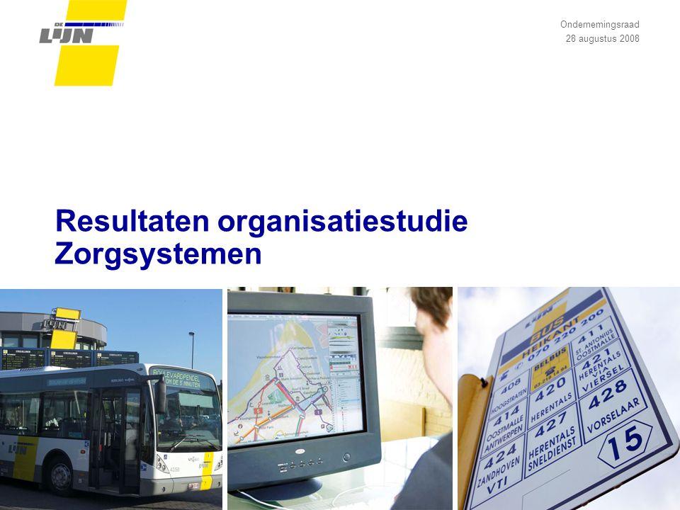 Resultaten organisatiestudie Zorgsystemen Ondernemingsraad 28 augustus 2008
