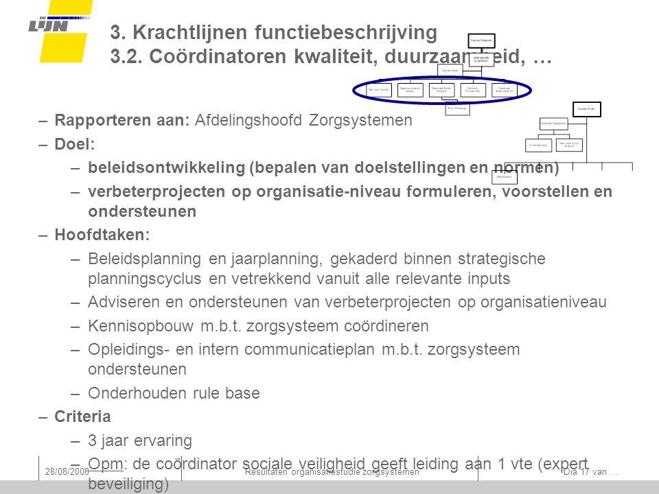28/08/2008Resultaten organisatiestudie zorgsystemen Dia 17 van … 3.