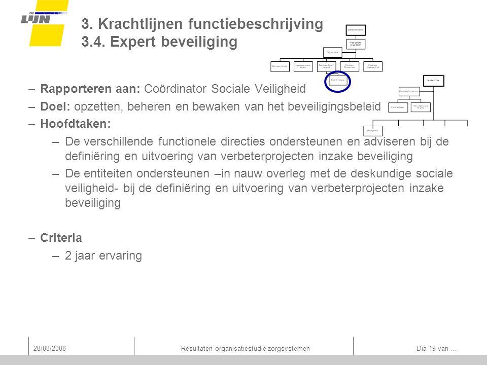 28/08/2008Resultaten organisatiestudie zorgsystemen Dia 19 van … 3. Krachtlijnen functiebeschrijving 3.4. Expert beveiliging –Rapporteren aan: Coördin