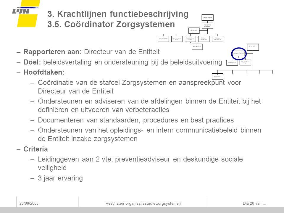 28/08/2008Resultaten organisatiestudie zorgsystemen Dia 20 van … 3. Krachtlijnen functiebeschrijving 3.5. Coördinator Zorgsystemen –Rapporteren aan: D