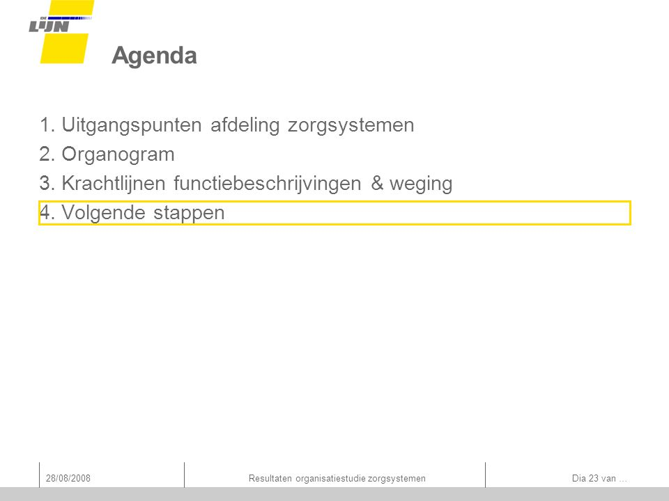 28/08/2008Resultaten organisatiestudie zorgsystemen Dia 23 van … Agenda 1.Uitgangspunten afdeling zorgsystemen 2.Organogram 3.Krachtlijnen functiebeschrijvingen & weging 4.Volgende stappen