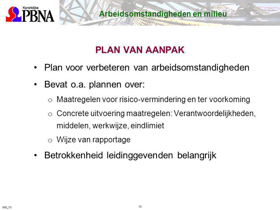 PLAN VAN AANPAK Plan voor verbeteren van arbeidsomstandigheden Bevat o.a. plannen over: o Maatregelen voor risico-vermindering en ter voorkoming o Con