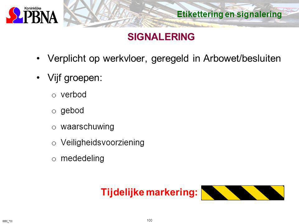 SIGNALERING Verplicht op werkvloer, geregeld in Arbowet/besluiten Vijf groepen: o verbod o gebod o waarschuwing o Veiligheidsvoorziening o mededeling