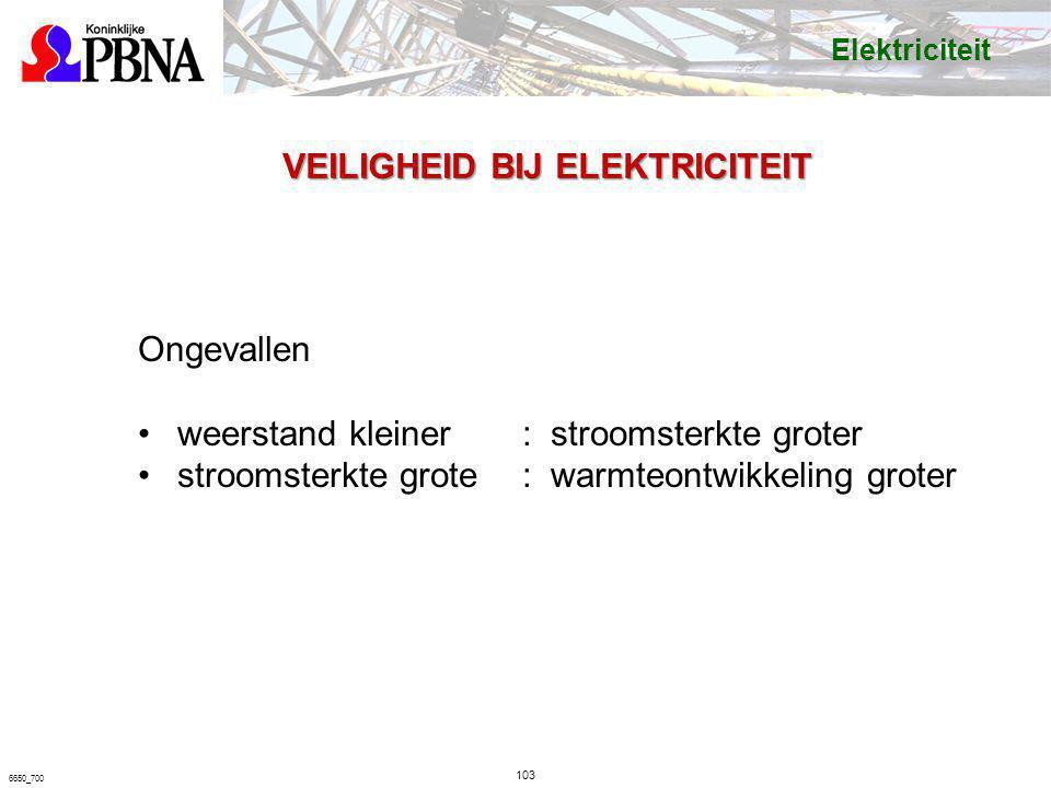 103 6650_700 VEILIGHEID BIJ ELEKTRICITEIT Ongevallen weerstand kleiner: stroomsterkte groter stroomsterkte grote: warmteontwikkeling groter Elektricit