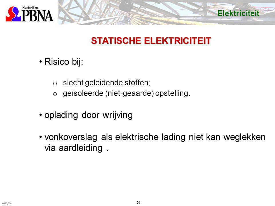 109 6650_700 STATISCHE ELEKTRICITEIT Risico bij: o slecht geleidende stoffen; o geïsoleerde (niet-geaarde) opstelling. oplading door wrijving vonkover