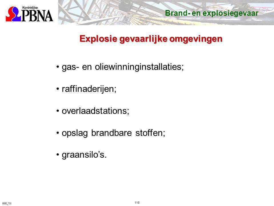 118 6650_700 gas- en oliewinninginstallaties; raffinaderijen; overlaadstations; opslag brandbare stoffen; graansilo's. Brand- en explosiegevaar Explos