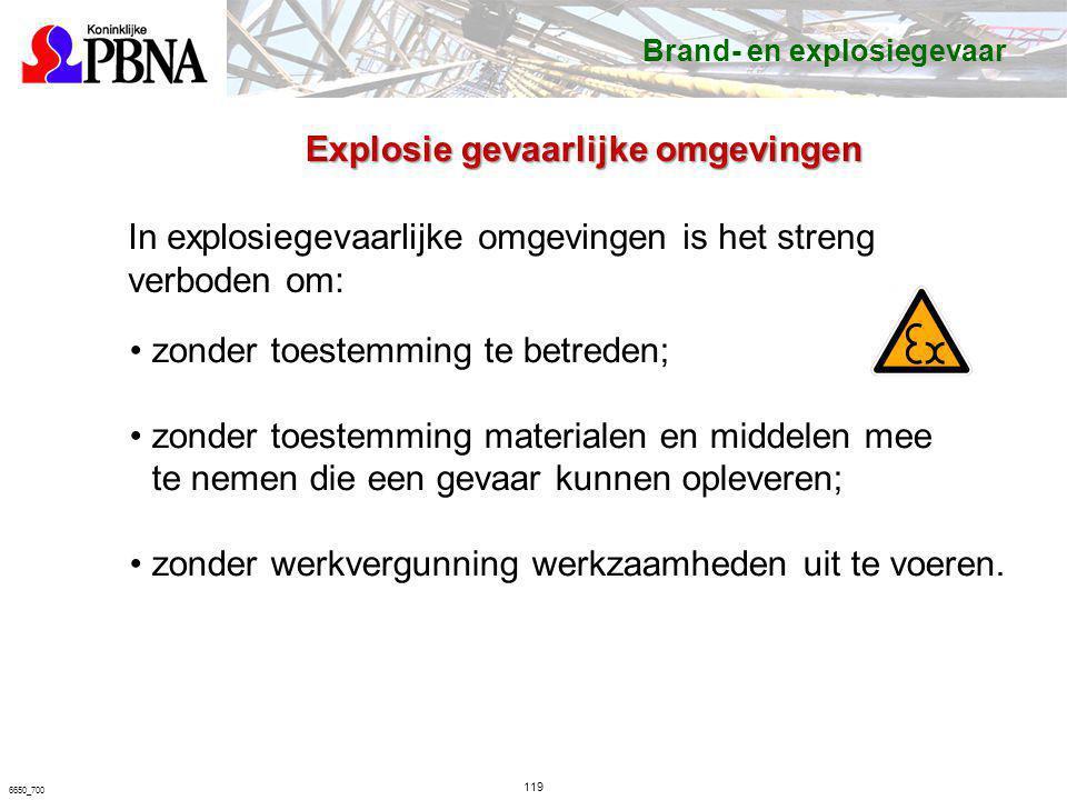 119 6650_700 In explosiegevaarlijke omgevingen is het streng verboden om: zonder toestemming te betreden; zonder toestemming materialen en middelen me