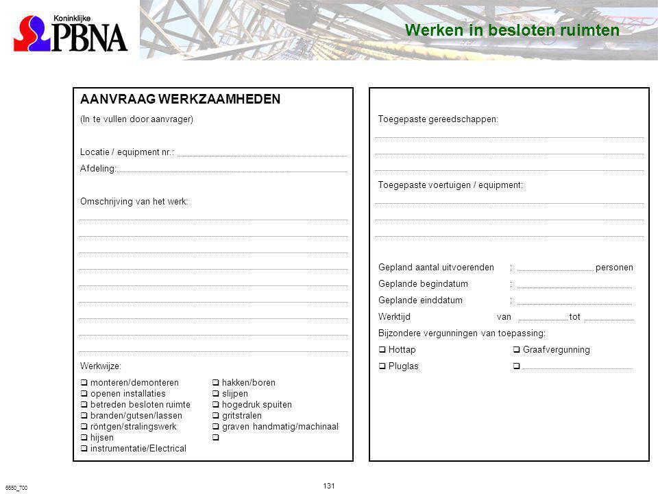 131 6650_700 AANVRAAG WERKZAAMHEDEN (In te vullen door aanvrager) Locatie / equipment nr.: Afdeling: Omschrijving van het werk: Werkwijze: q monteren/
