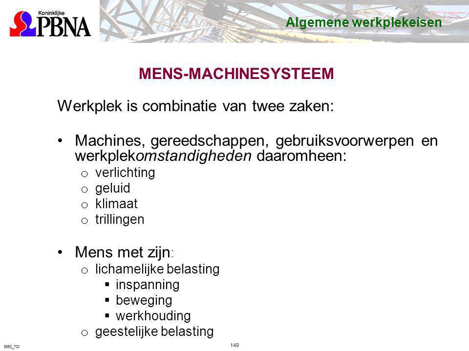MENS-MACHINESYSTEEM Werkplek is combinatie van twee zaken: Machines, gereedschappen, gebruiksvoorwerpen en werkplekomstandigheden daaromheen: o verlic