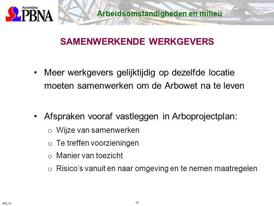 SAMENWERKENDE WERKGEVERS Meer werkgevers gelijktijdig op dezelfde locatie moeten samenwerken om de Arbowet na te leven Afspraken vooraf vastleggen in
