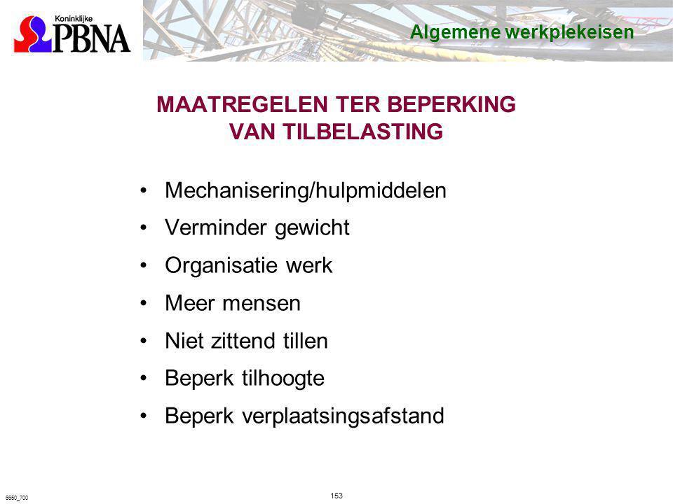MAATREGELEN TER BEPERKING VAN TILBELASTING Mechanisering/hulpmiddelen Verminder gewicht Organisatie werk Meer mensen Niet zittend tillen Beperk tilhoo