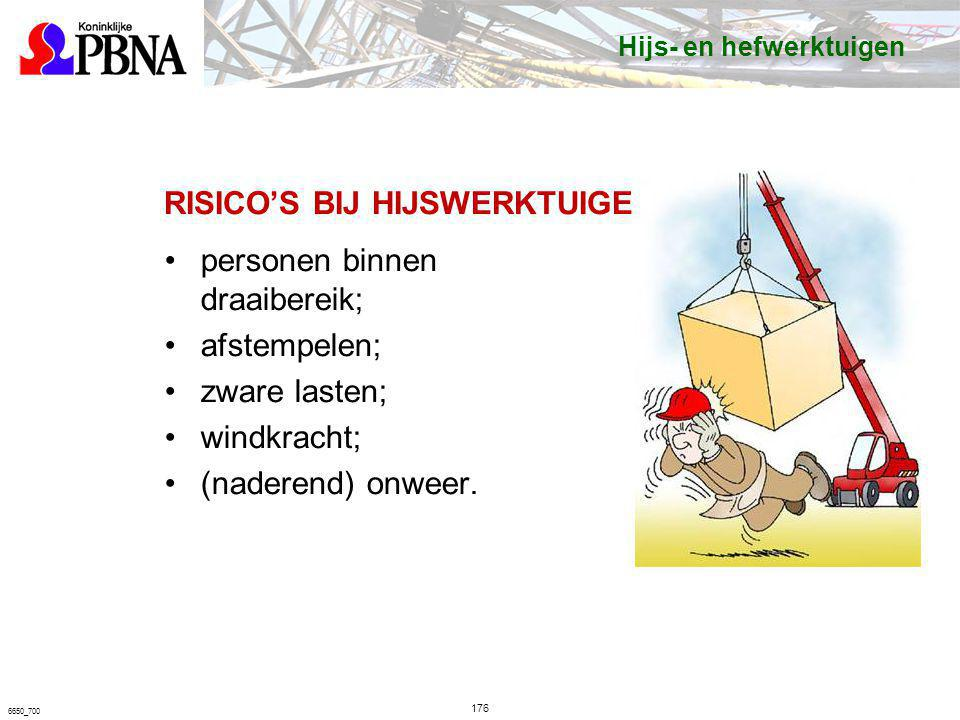 RISICO'S BIJ HIJSWERKTUIGEN personen binnen draaibereik; afstempelen; zware lasten; windkracht; (naderend) onweer. 176 6650_700 Hijs- en hefwerktuigen