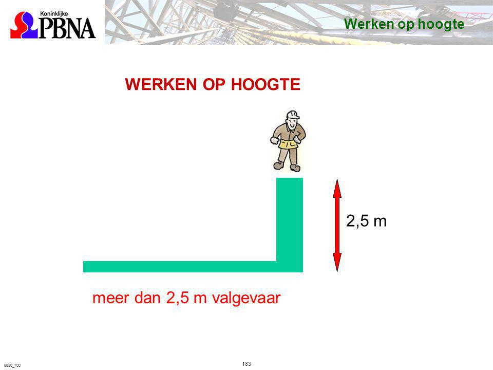 183 6650_700 2,5 m WERKEN OP HOOGTE meer dan 2,5 m valgevaar Werken op hoogte