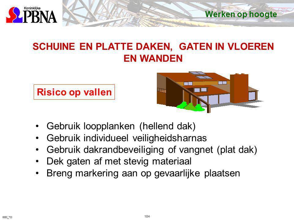 184 6650_700 SCHUINE EN PLATTE DAKEN, GATEN IN VLOEREN EN WANDEN Risico op vallen Gebruik loopplanken (hellend dak) Gebruik individueel veiligheidshar