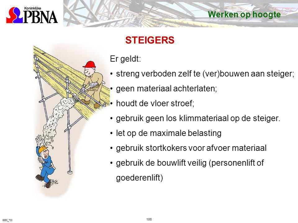 186 6650_700 STEIGERS Er geldt: streng verboden zelf te (ver)bouwen aan steiger; geen materiaal achterlaten; houdt de vloer stroef; gebruik geen los k