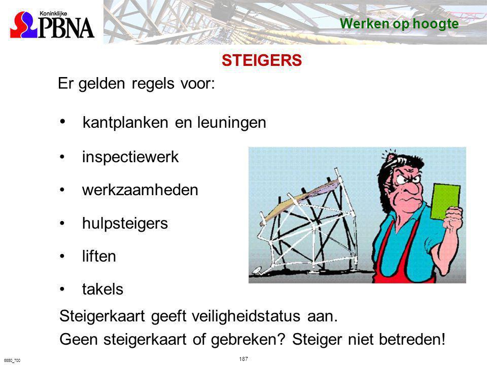 Er gelden regels voor: kantplanken en leuningen inspectiewerk werkzaamheden hulpsteigers liften takels Steigerkaart geeft veiligheidstatus aan. Geen s