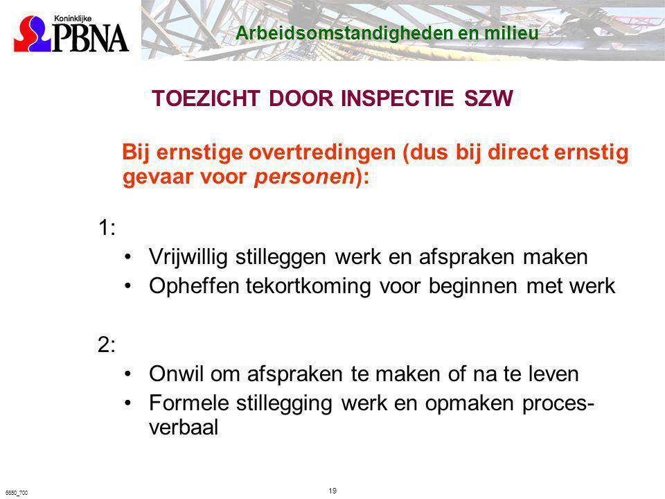 TOEZICHT DOOR INSPECTIE SZW Bij ernstige overtredingen (dus bij direct ernstig gevaar voor personen): 1: Vrijwillig stilleggen werk en afspraken maken