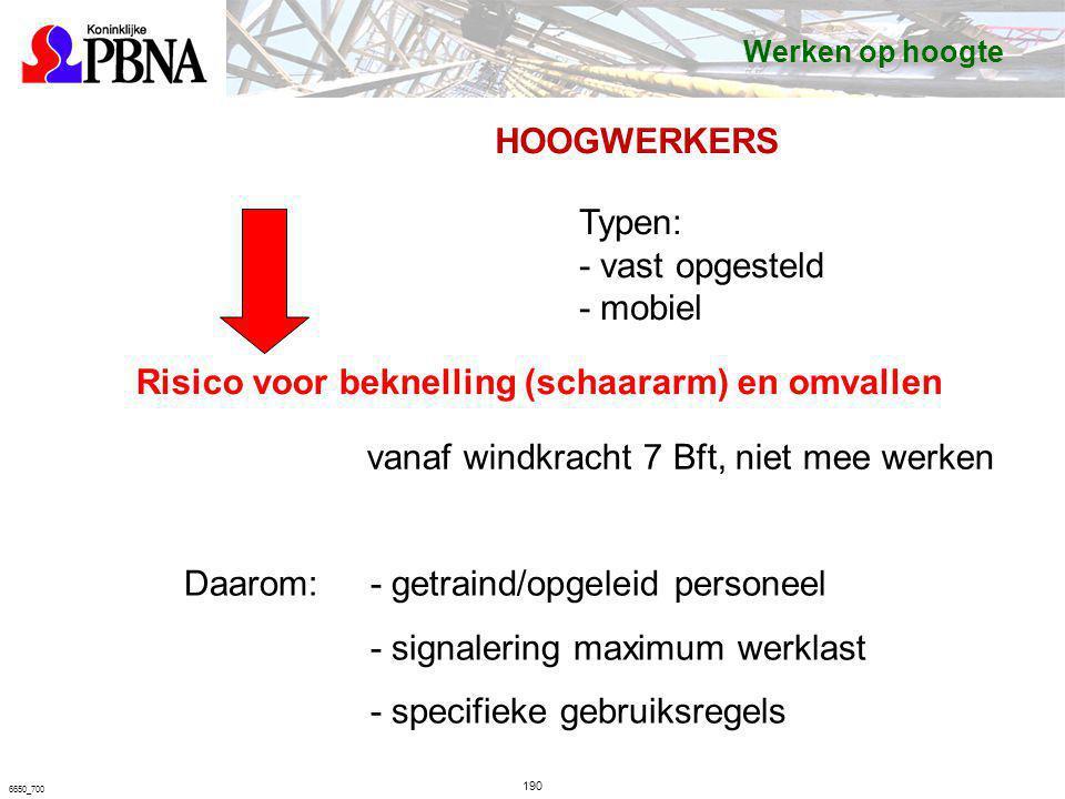 190 6650_700 HOOGWERKERS Typen: - vast opgesteld - mobiel Risico voor beknelling (schaararm) en omvallen Daarom:- getraind/opgeleid personeel - signal
