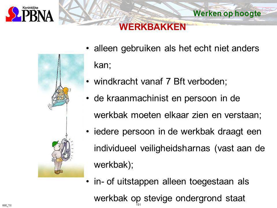 191 6650_700 WERKBAKKEN alleen gebruiken als het echt niet anders kan; windkracht vanaf 7 Bft verboden; de kraanmachinist en persoon in de werkbak moe