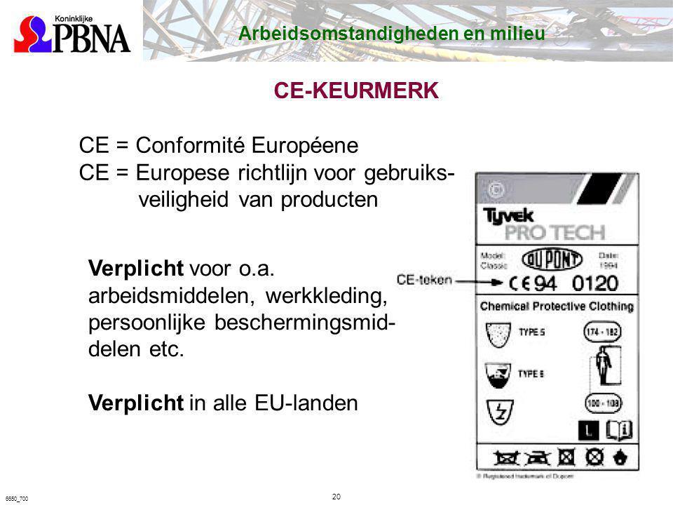 CE-KEURMERK 20 6650_700 Arbeidsomstandigheden en milieu CE = Conformité Européene CE = Europese richtlijn voor gebruiks- veiligheid van producten Verp