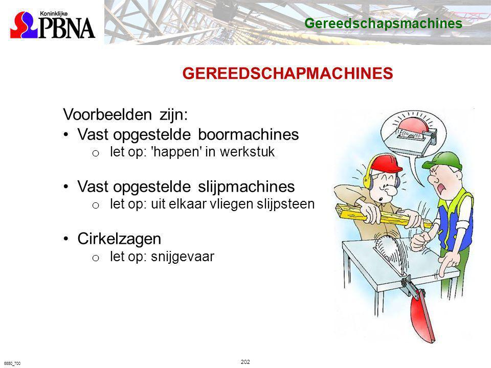 202 6650_700 GEREEDSCHAPMACHINES Voorbeelden zijn: Vast opgestelde boormachines o let op: 'happen' in werkstuk Vast opgestelde slijpmachines o let op:
