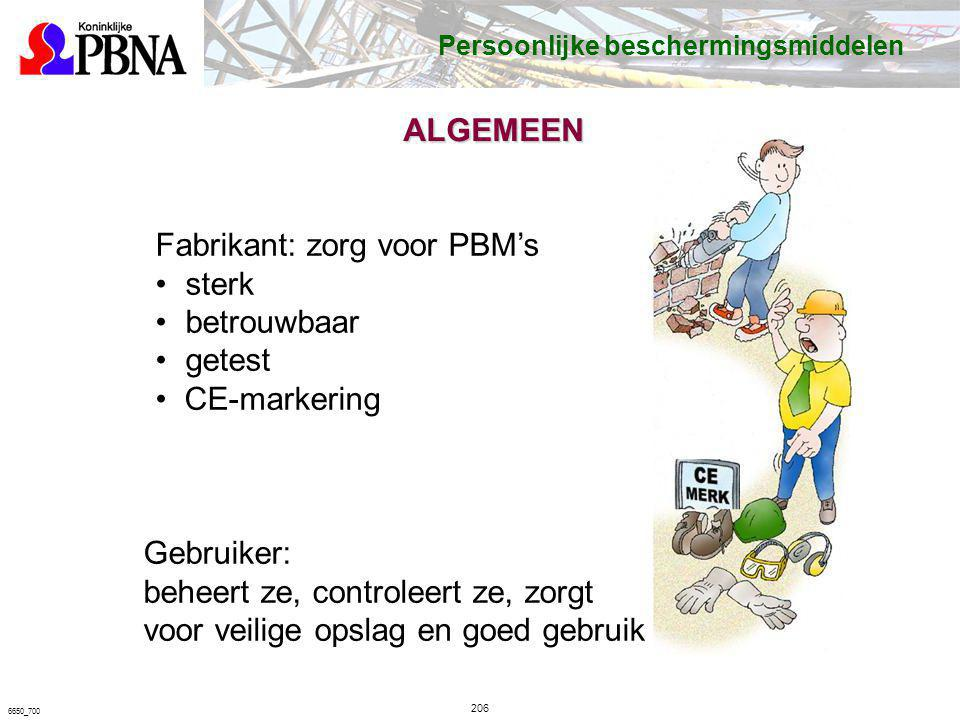 206 6650_700 Fabrikant: zorg voor PBM's sterk betrouwbaar getest CE-markering Gebruiker: beheert ze, controleert ze, zorgt voor veilige opslag en goed