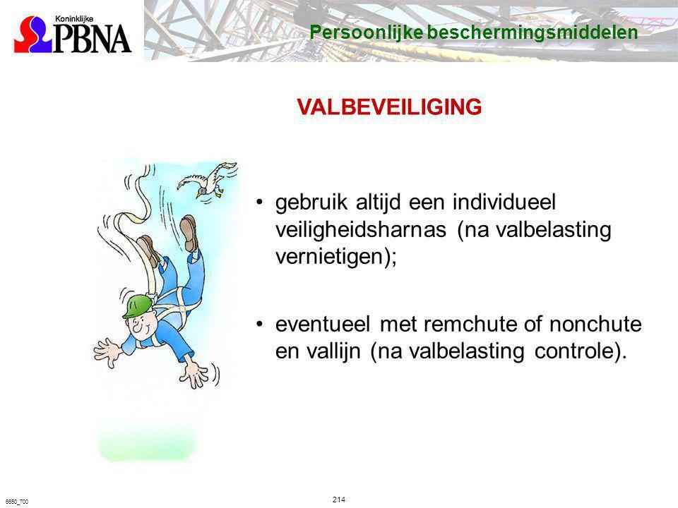 214 6650_700 VALBEVEILIGING gebruik altijd een individueel veiligheidsharnas (na valbelasting vernietigen); eventueel met remchute of nonchute en vall