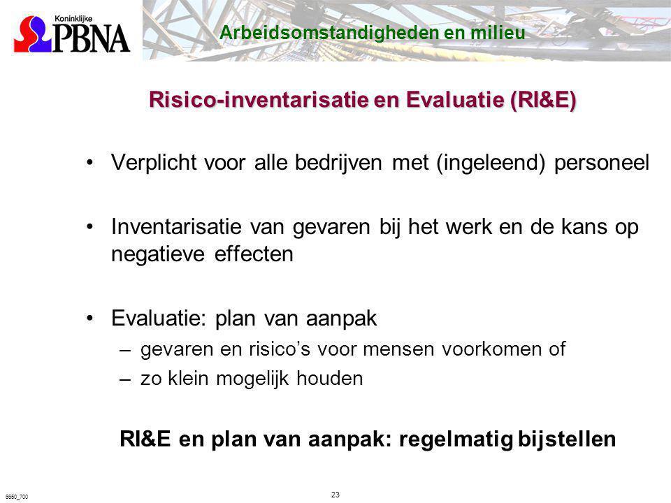 Verplicht voor alle bedrijven met (ingeleend) personeel Inventarisatie van gevaren bij het werk en de kans op negatieve effecten Evaluatie: plan van a